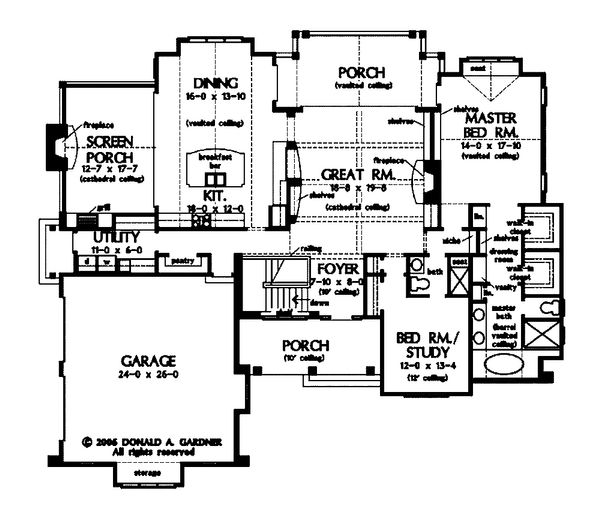 Architectural House Design - Craftsman Floor Plan - Main Floor Plan #929-861