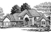 European Style House Plan - 4 Beds 3.5 Baths 3667 Sq/Ft Plan #70-536 Exterior - Front Elevation