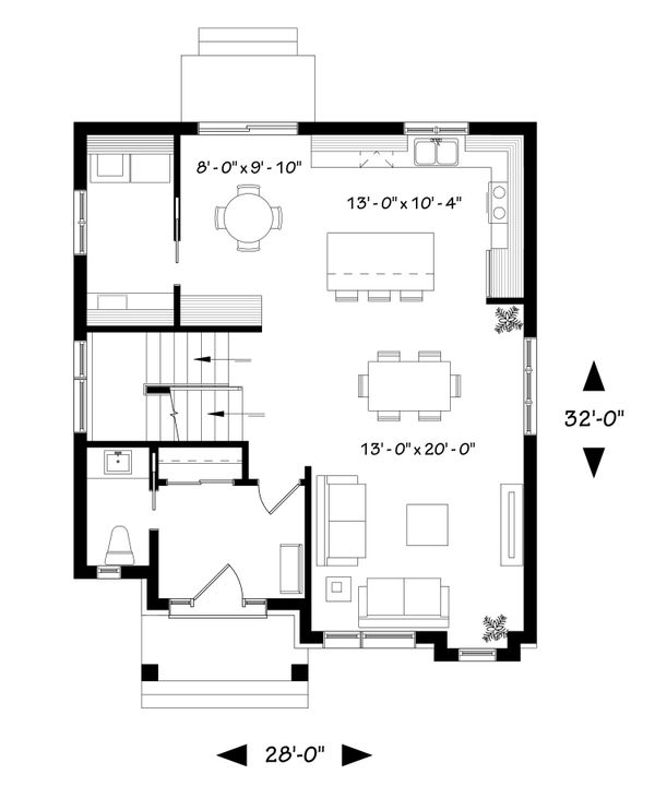 Contemporary Floor Plan - Main Floor Plan Plan #23-2307