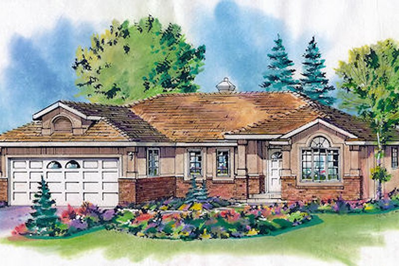 Traditional Style House Plan - 2 Beds 2 Baths 1293 Sq/Ft Plan #18-1004 Exterior - Front Elevation