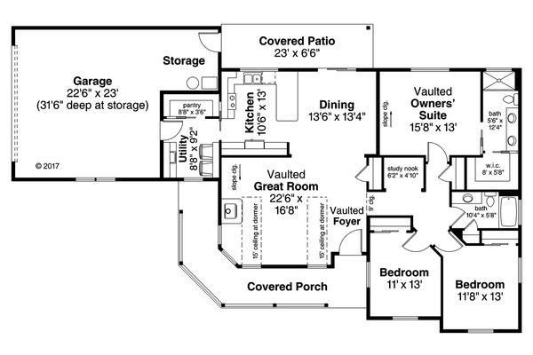 House Plan Design - Country Floor Plan - Main Floor Plan #124-1066