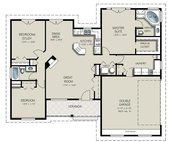 Dream House Plan - Craftsman Floor Plan - Main Floor Plan #427-5