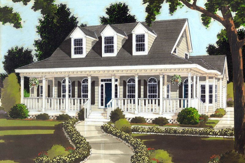 Classical Style House Plan - 3 Beds 2.5 Baths 1649 Sq/Ft Plan #3-289 Exterior - Front Elevation