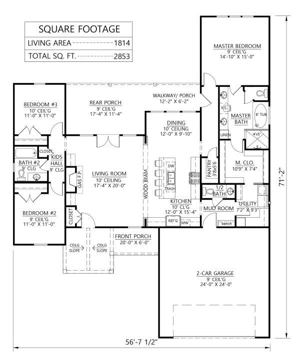 Farmhouse Floor Plan - Main Floor Plan #1074-1