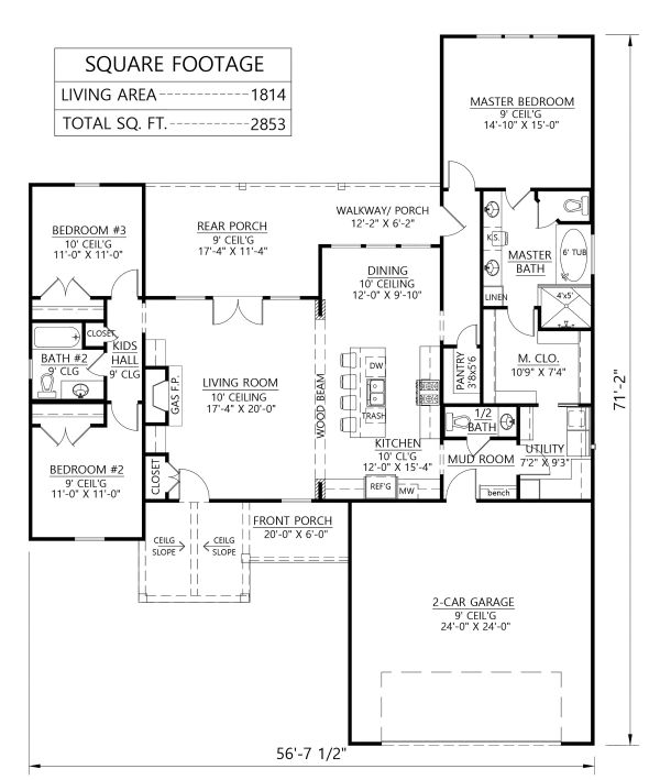 Dream House Plan - Farmhouse Floor Plan - Main Floor Plan #1074-1