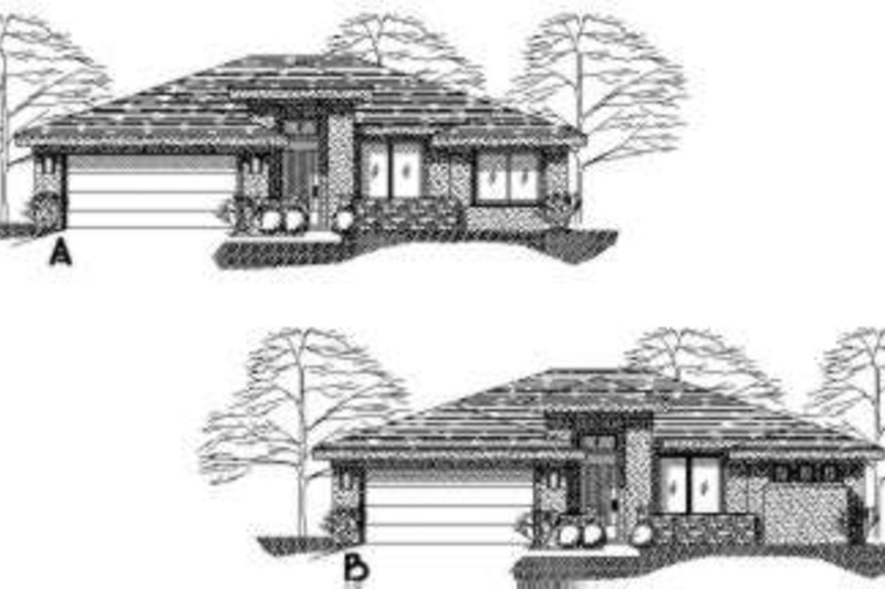 Adobe / Southwestern Style House Plan - 3 Beds 2 Baths 1439 Sq/Ft Plan #24-218 Exterior - Front Elevation