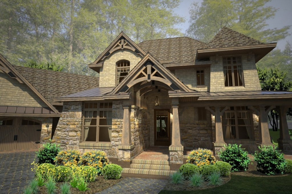 Craftsman style house plan 4 beds 4 baths 3069 sq ft for Craftsman style bed plans