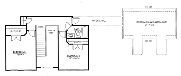 Farmhouse Floor Plan - Upper Floor Plan Plan #437-78