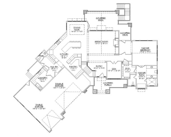 Craftsman Floor Plan - Main Floor Plan Plan #945-139
