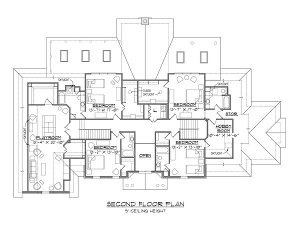 House Plan Design - European Floor Plan - Upper Floor Plan #1054-76