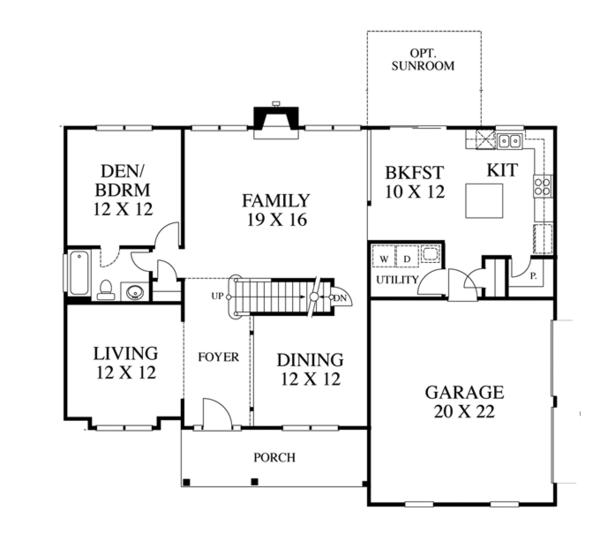 Traditional Floor Plan - Main Floor Plan Plan #1053-55