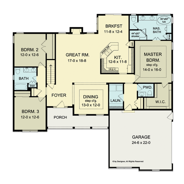 Ranch Floor Plan - Main Floor Plan Plan #1010-34