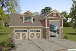 Craftsman, Garage with living, Front Elevation
