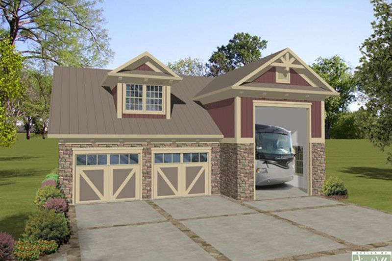 Craftsman Style House Plan - 1 Beds 1 Baths 843 Sq/Ft Plan #56-611 Exterior - Front Elevation