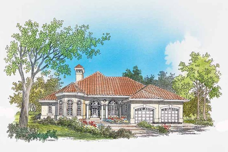 Mediterranean Exterior - Front Elevation Plan #929-295
