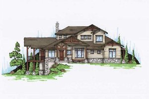 Bungalow Exterior - Front Elevation Plan #5-384