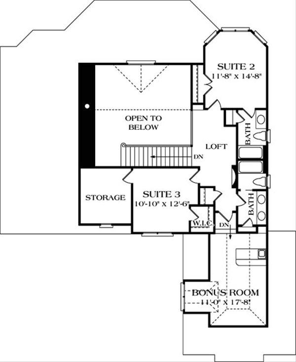 Country Floor Plan - Upper Floor Plan Plan #453-29