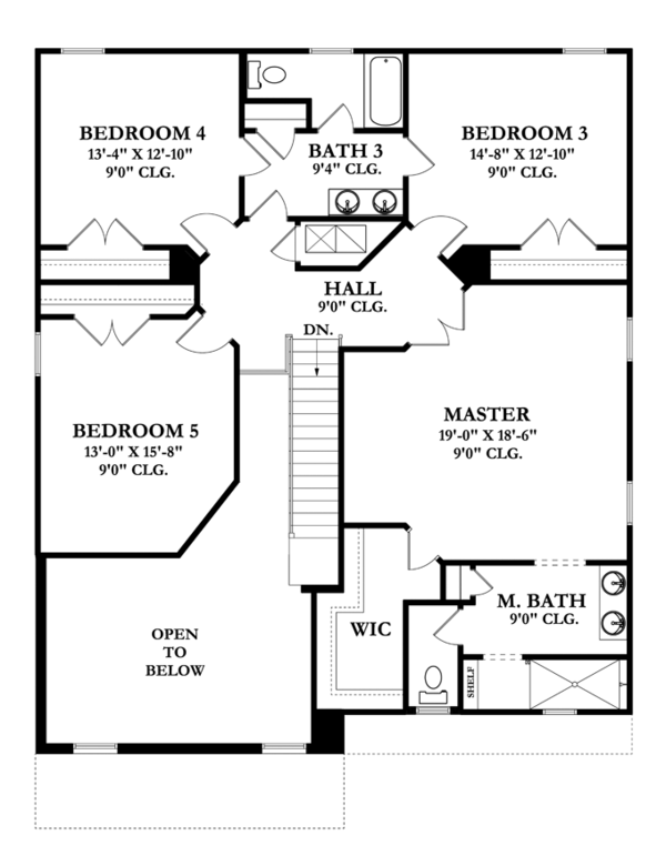 Mediterranean Floor Plan - Upper Floor Plan Plan #1058-66