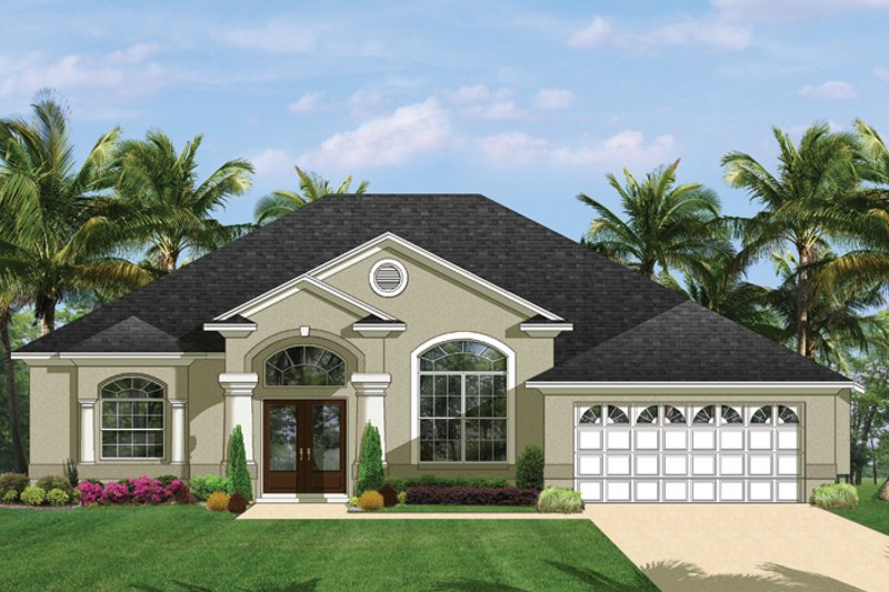 Mediterranean Exterior - Front Elevation Plan #1058-39 - Houseplans.com