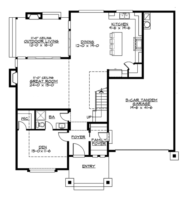 Contemporary Floor Plan - Main Floor Plan Plan #132-564