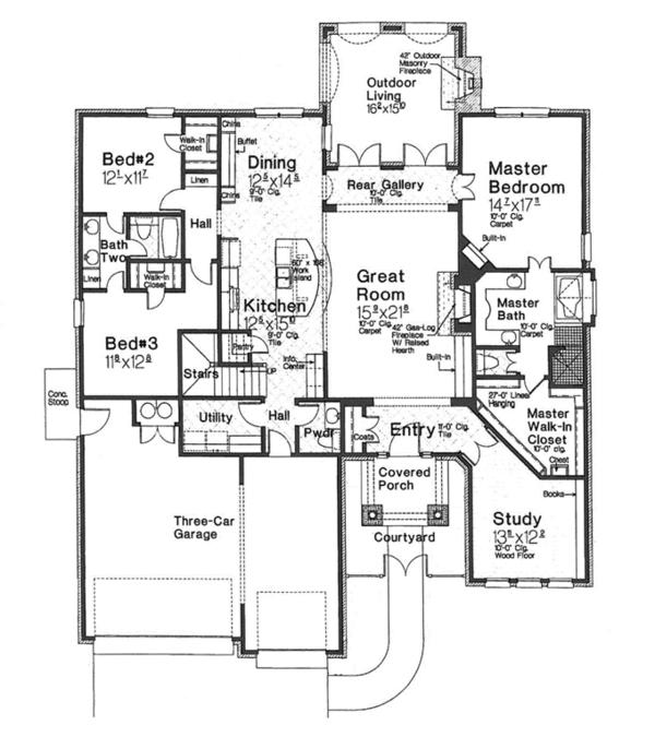 House Plan Design - European Floor Plan - Main Floor Plan #310-1266