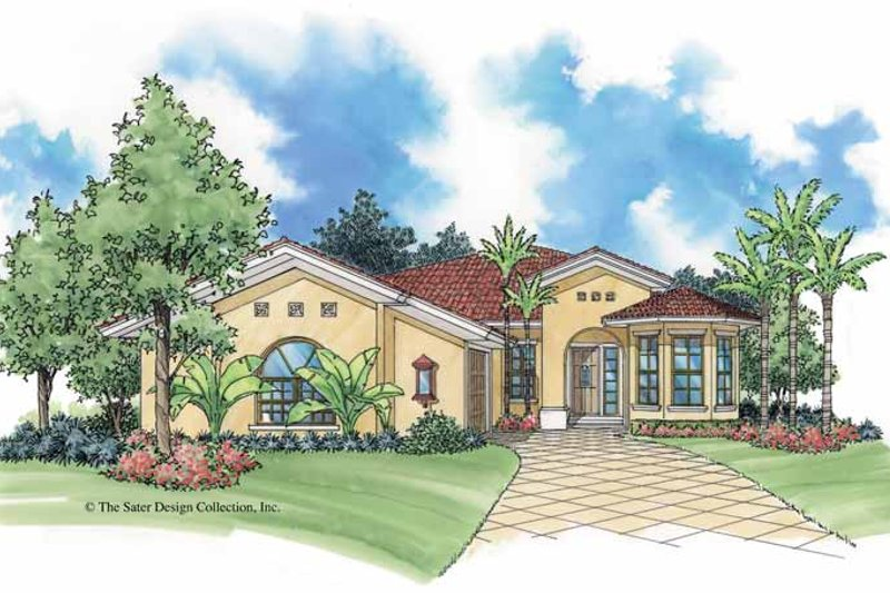 Mediterranean Exterior - Front Elevation Plan #930-386