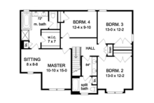 Colonial Floor Plan - Upper Floor Plan Plan #1010-63