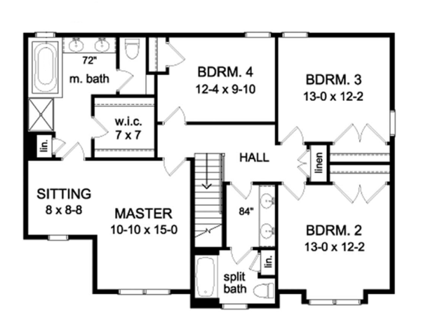 Colonial Floor Plan - Upper Floor Plan Plan #1010-63