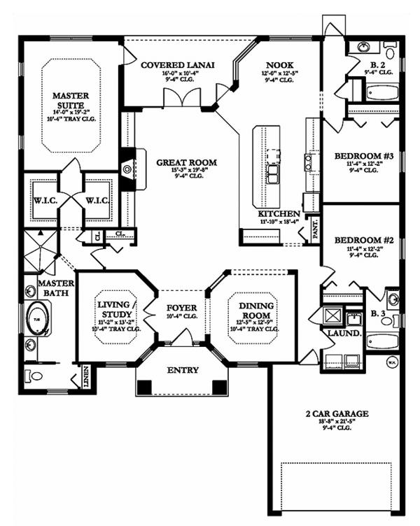 Adobe / Southwestern Floor Plan - Main Floor Plan Plan #1058-134