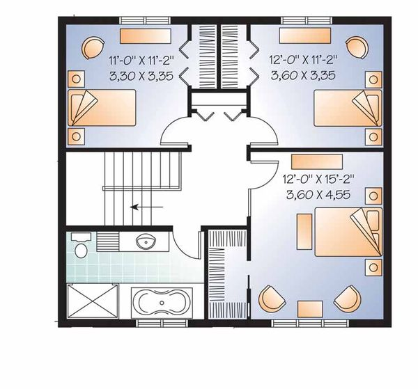 Traditional Floor Plan - Upper Floor Plan Plan #23-2506