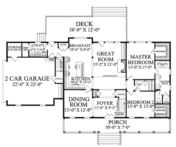 Country Floor Plan - Main Floor Plan #137-366