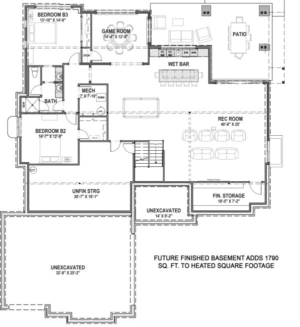 Farmhouse Floor Plan - Lower Floor Plan Plan #1069-20