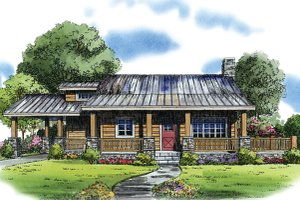 Cabin Exterior - Front Elevation Plan #942-22