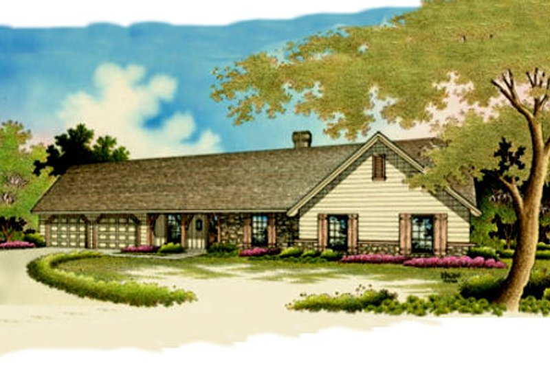 Ranch Style House Plan - 4 Beds 2 Baths 1751 Sq/Ft Plan #45-119 Exterior - Front Elevation
