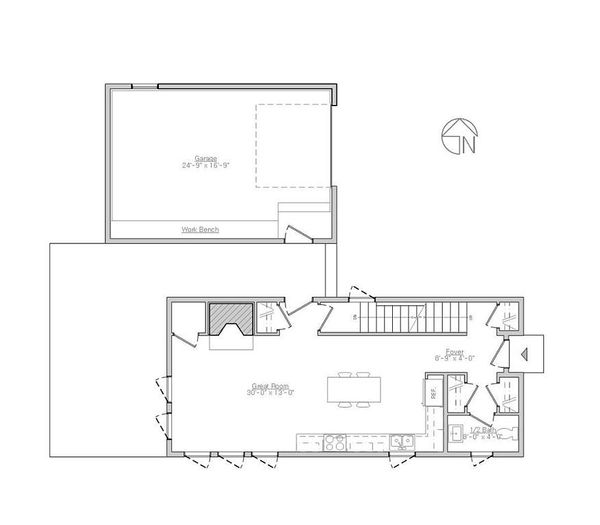 Modern Style House Plan - 2 Beds 1.5 Baths 1340 Sq/Ft Plan #914-5 Floor Plan - Main Floor Plan