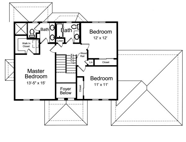 Traditional Floor Plan - Upper Floor Plan Plan #46-871