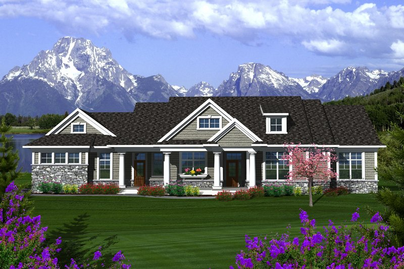Traditional Style House Plan - 3 Beds 2.5 Baths 2164 Sq/Ft Plan #70-1135 Exterior - Front Elevation