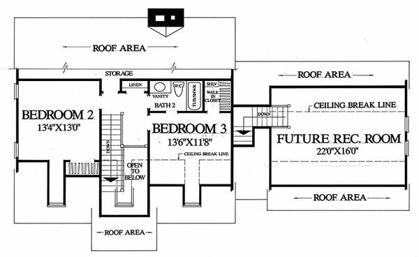 Colonial Floor Plan - Upper Floor Plan Plan #137-180