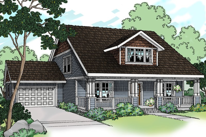 Craftsman Exterior - Front Elevation Plan #124-386