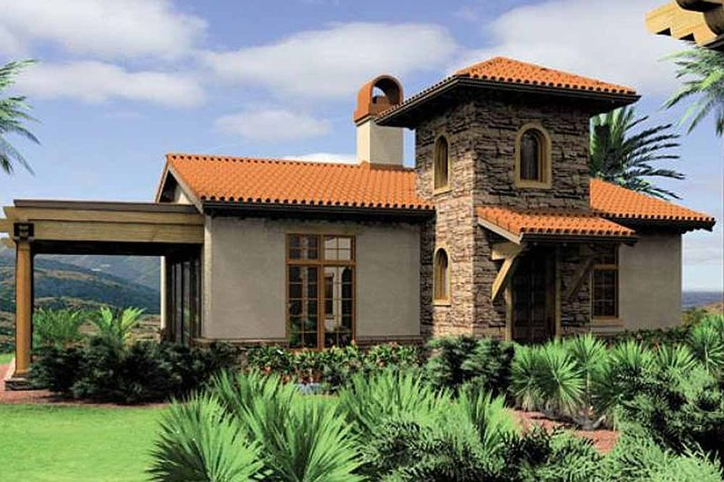 Mediterranean Style House Plan - 1 Beds 1 Baths 972 Sq/Ft Plan #48-284 Exterior - Front Elevation