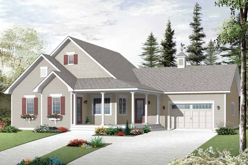 Country Exterior - Front Elevation Plan #23-2518