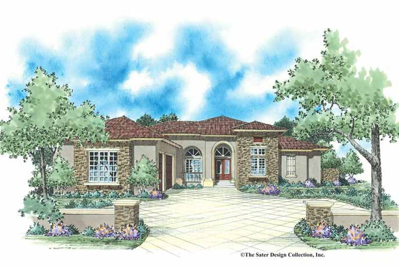 Mediterranean Style House Plan - 4 Beds 3.5 Baths 3231 Sq/Ft Plan #930-350