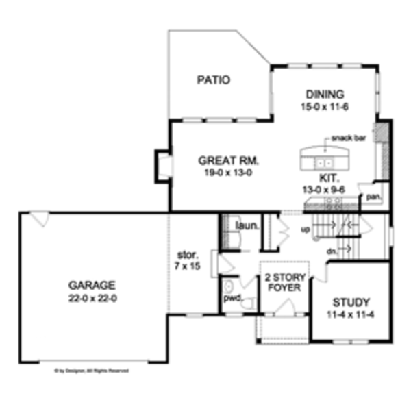 Colonial Floor Plan - Main Floor Plan Plan #1010-46