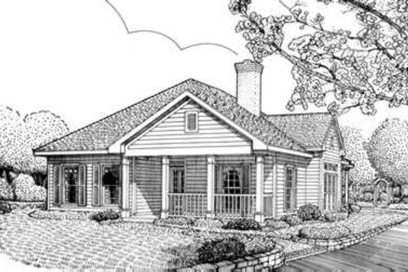 Colonial Style House Plan - 2 Beds 2 Baths 1649 Sq/Ft Plan #410-337 Exterior - Front Elevation