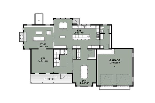 Farmhouse Floor Plan - Main Floor Plan #497-11