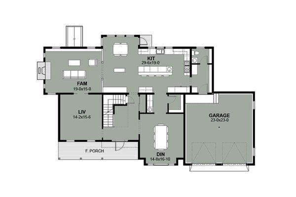 House Plan Design - Farmhouse Floor Plan - Main Floor Plan #497-11