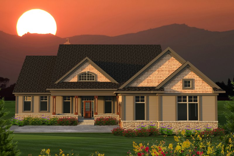 Home Plan - Ranch Exterior - Front Elevation Plan #70-1203