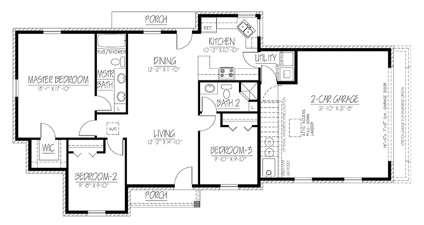 Colonial Floor Plan - Main Floor Plan Plan #1061-26