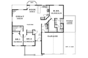 Craftsman Style House Plan - 3 Beds 2 Baths 1785 Sq/Ft Plan #943-43 Floor Plan - Main Floor