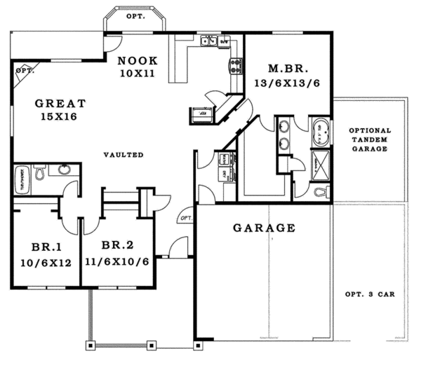 Craftsman Floor Plan - Main Floor Plan Plan #943-43